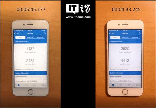 iPhone 6s换电池前后运行速度对比:差距明显