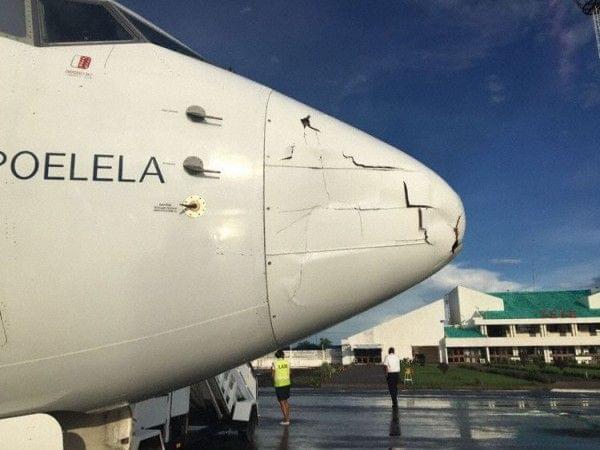 莫桑比克航空客机与无人机相撞 飞机鼻锥受损