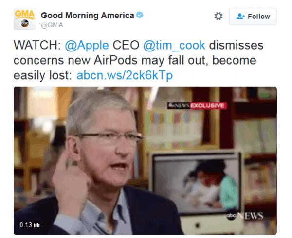 苹果CEO库克:不用担心AirPods脱落的照片 - 2