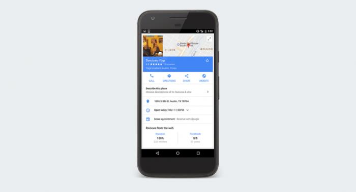 谷歌地图现在可以允许用户预订健身课程