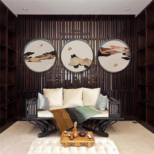 沙发背景墙,水泥墙,祥云图,中式风格,手绘图,木栅栏,青岛背景墙设计