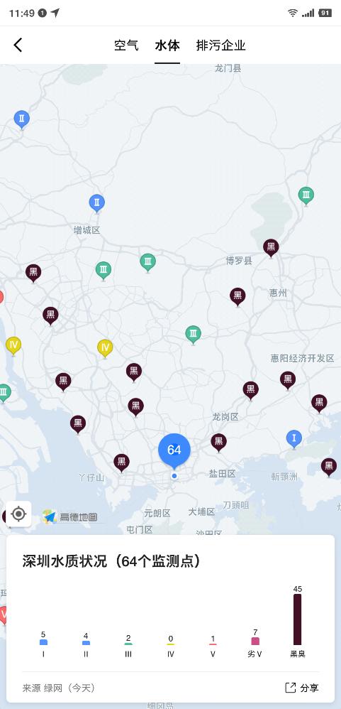 全国城市水质地图出炉:一线城市黑臭水问题突出