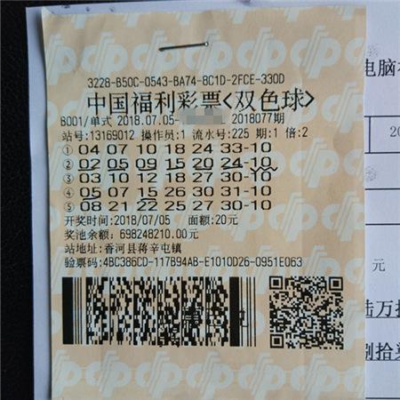 PK10官网定蓝机选倍投 香河彩民命中双色球1484万元