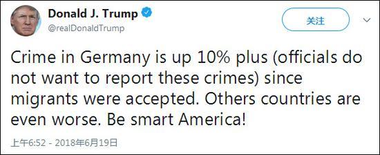 """特朗普发推称德国案发量飙升10% 遭美媒""""打脸"""""""