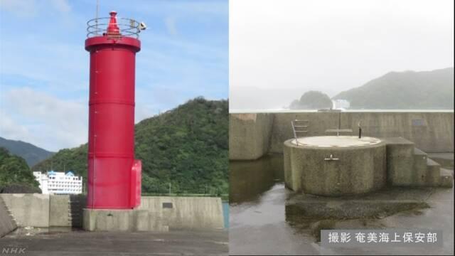 """台风""""潭美""""过境日本九州 鹿儿岛一座灯塔不见了"""