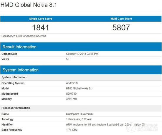诺基亚8.1跑分曝光 骁龙710+4GB内存