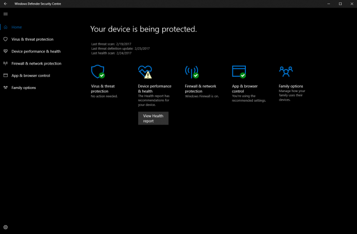 Windows 10 build 15042公布:Windows Defender获改善的照片 - 1