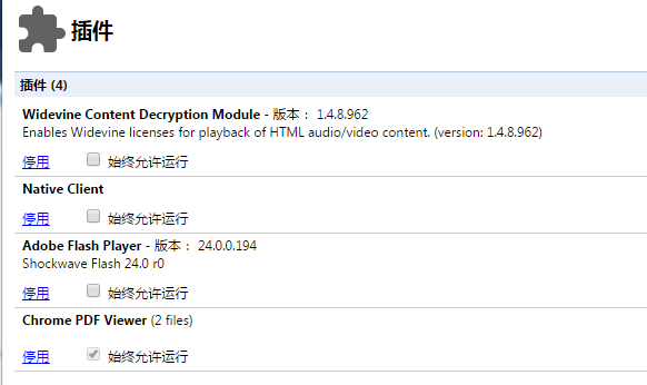 Google Chrome 57 不再提供暂时禁用插件功能的照片 - 2