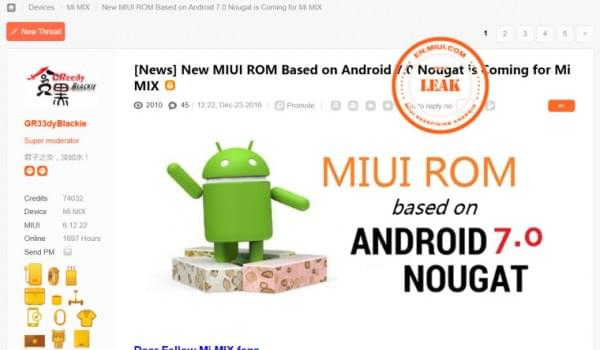 小米Mix即将迎来Android 7.0 Nougat更新的照片