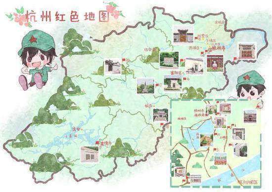国庆献礼 学生手绘浙江11地市111个红色景点地图