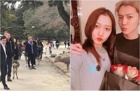近日在日本旅游的鹿晗和关晓彤,今被捕获现身奈良公园喂鹿。