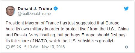 """特朗普批马克龙想建""""真正的欧洲军队""""防中俄美"""