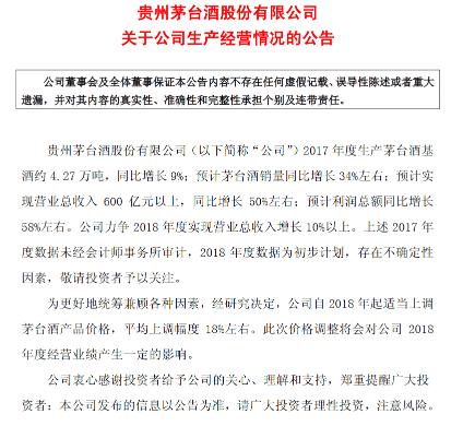贵州茅台:2018年起提价18%左右