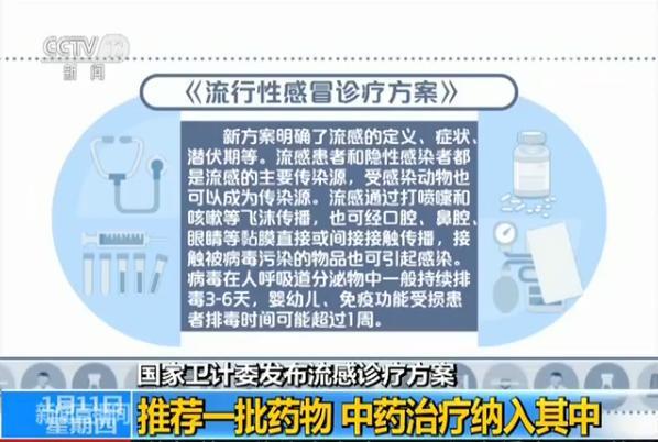 国家卫计委发布流感诊疗方案 中药治疗纳入其中