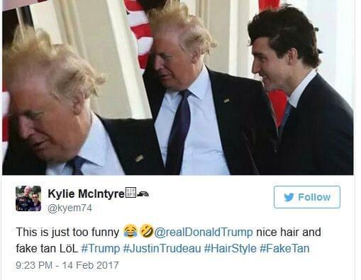 """特朗普头发被风吹起后露出""""异常肤色"""" 引网友嘲讽"""