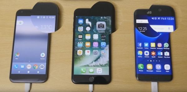 快充的差别:iPhone 7 Plus和Pixel XL以及S7 edge充电对比的照片 - 1