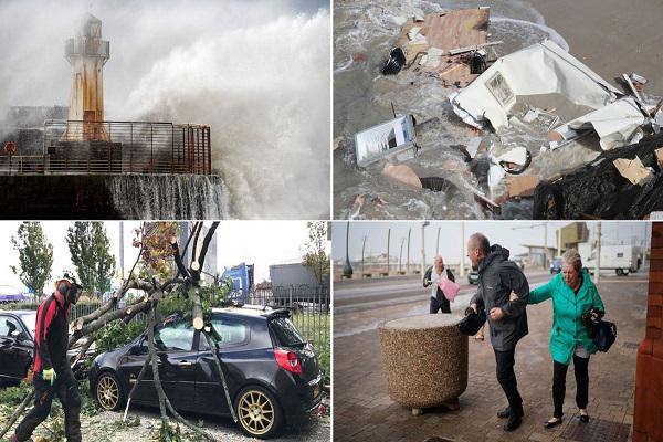 """风暴""""阿里""""袭击英国道路受损 致2死逾19万户断电"""