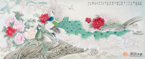 当代工笔花鸟画家——萧红牡丹作品欣赏