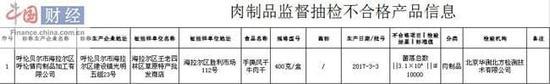 内蒙古食药监局:1批ci手sifeng干牛肉干不合格