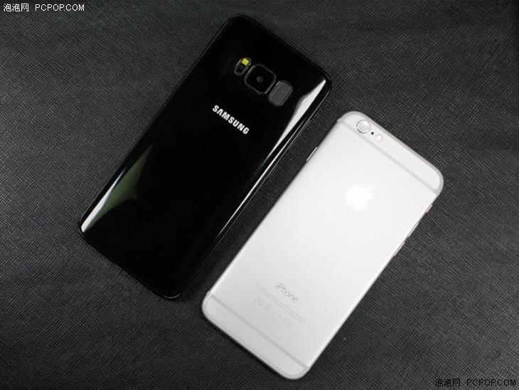 Galaxy S8跟iPhone6同框实拍 屏占比完爆后者