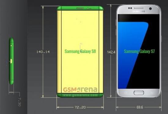 比S7更短更薄 三星Galaxy S8及S8 Plus精确尺寸曝光