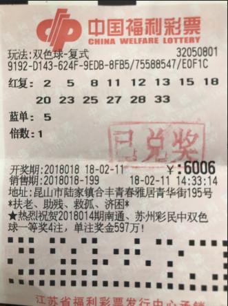 年终奖!小伙6006元击中双色球大奖 中奖彩票曝光!