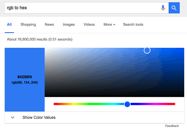 谷歌搜索现已支持RGB/16进制色转换的照片 - 1