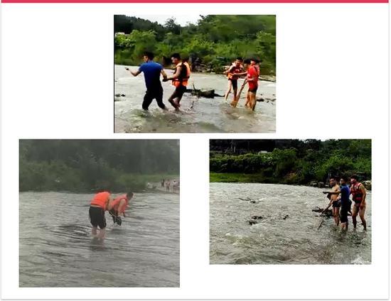 两大学生被洪水围困, 民警淌水40米救援累瘫