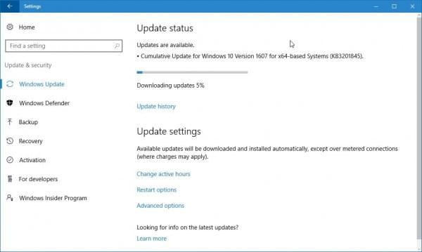 微软发布Windows 10累积更新KB3201845的照片