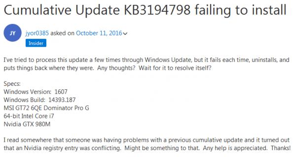 用户反馈无法安装KB3194798累积更新的照片
