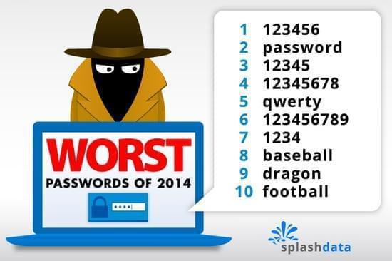 不要使用简单密码(图片来源:splashdata)