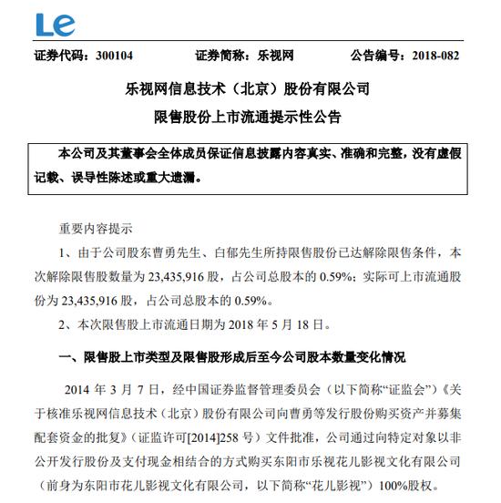 乐视网:股东曹勇、白郁所持限售股18日上市流通