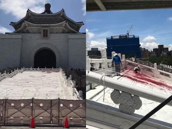 台北中正纪念堂遭泼漆 工人泪诉:1年辛劳2分钟被毁