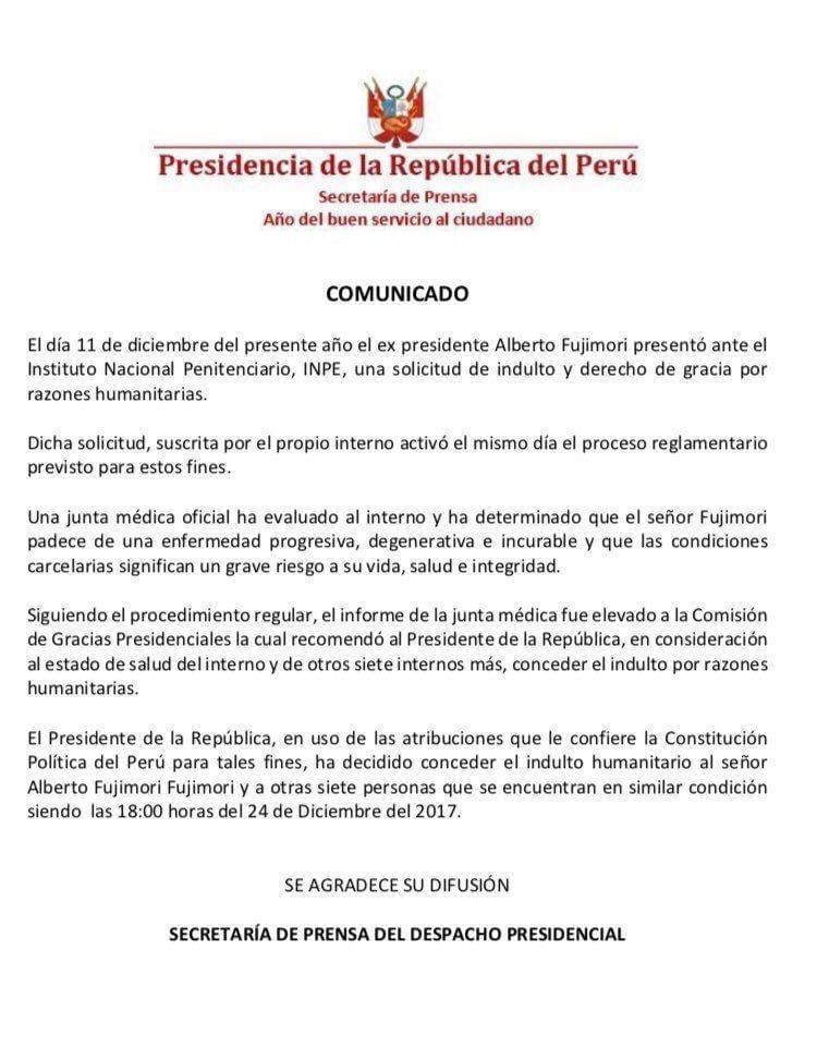 秘鲁前总统藤森获特赦 因贪腐与违反人权判刑25年