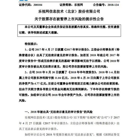 乐视网:核查工作已完成,9月13日上午复牌