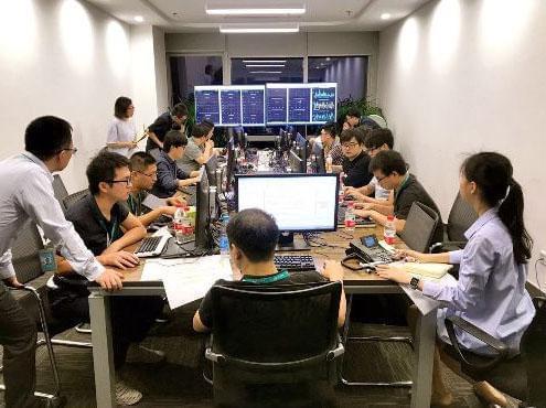 网联清算有限公司举行联合生产压测。 图片来源:中国支付清算协会