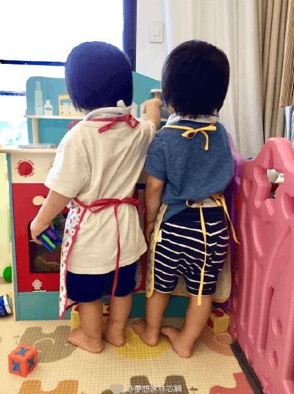 林志颖晒双胞胎儿子背影照 称这是甜蜜的负荷