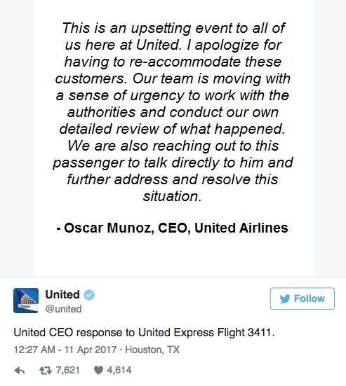 美联航CEO为暴力拖乘客下机致歉 声明措辞遭质疑的照片 - 2
