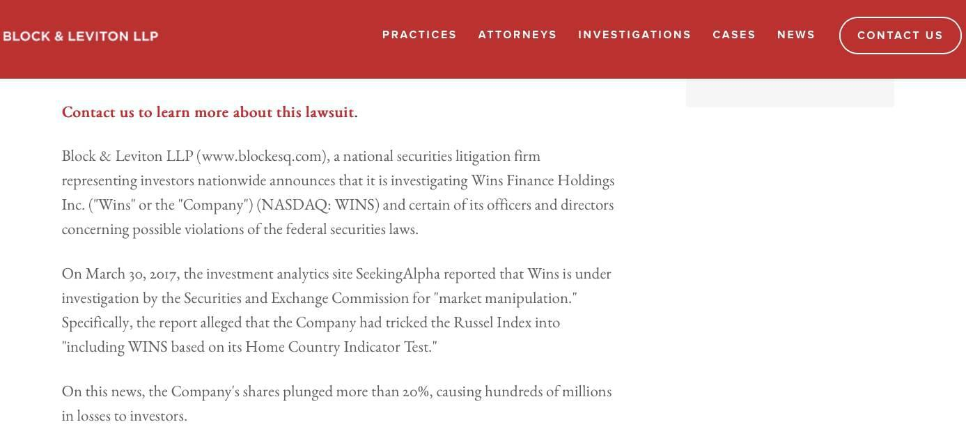 ▲Block & Leviton LLP宣布对稳盛金融展开调查(图片来源:Block & Leviton LLP官网)