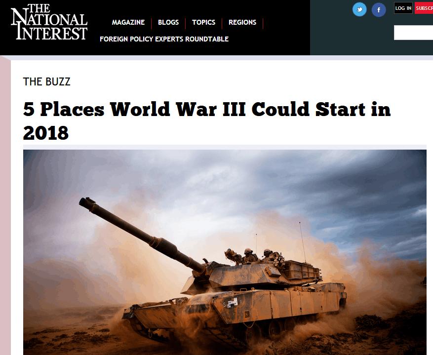 """美媒预测2018年""""第三次世界大战""""5大爆发地 台湾排在这!"""
