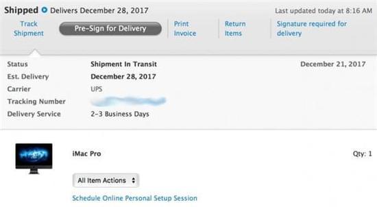 苹果首批iMac Pro已经发货 最快月底收到