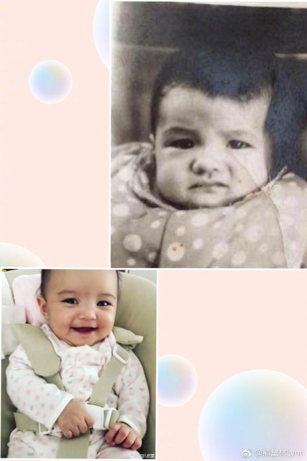双胞胎姐姐和熊黛林童年照对比