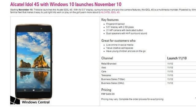 Win10 Mobile手机Idol 4S本月上市