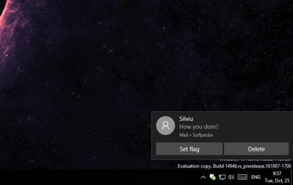 Windows 10邮件启用交互式通知:不打开应用可直接删除的照片