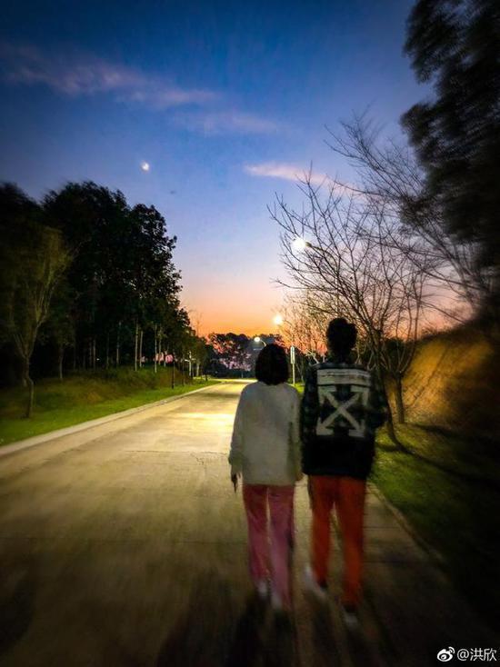 洪欣张丹峰牵手散步