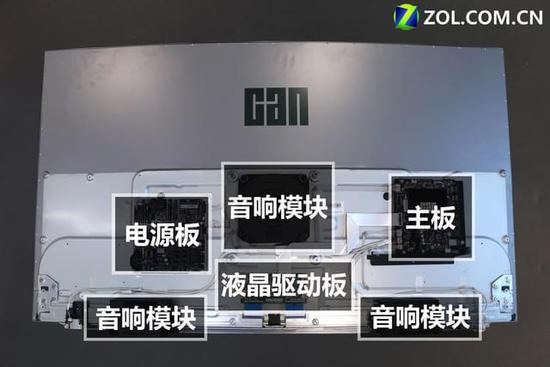 看尚x55q电视的内部结构采用了传统布局模式,电源板主板位居两侧