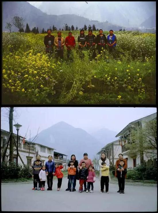 上图:2008年,地震中失去孩子的妈妈们重新孕育新生。下图:2018年,妈妈和她们的孩子们。受访者供图