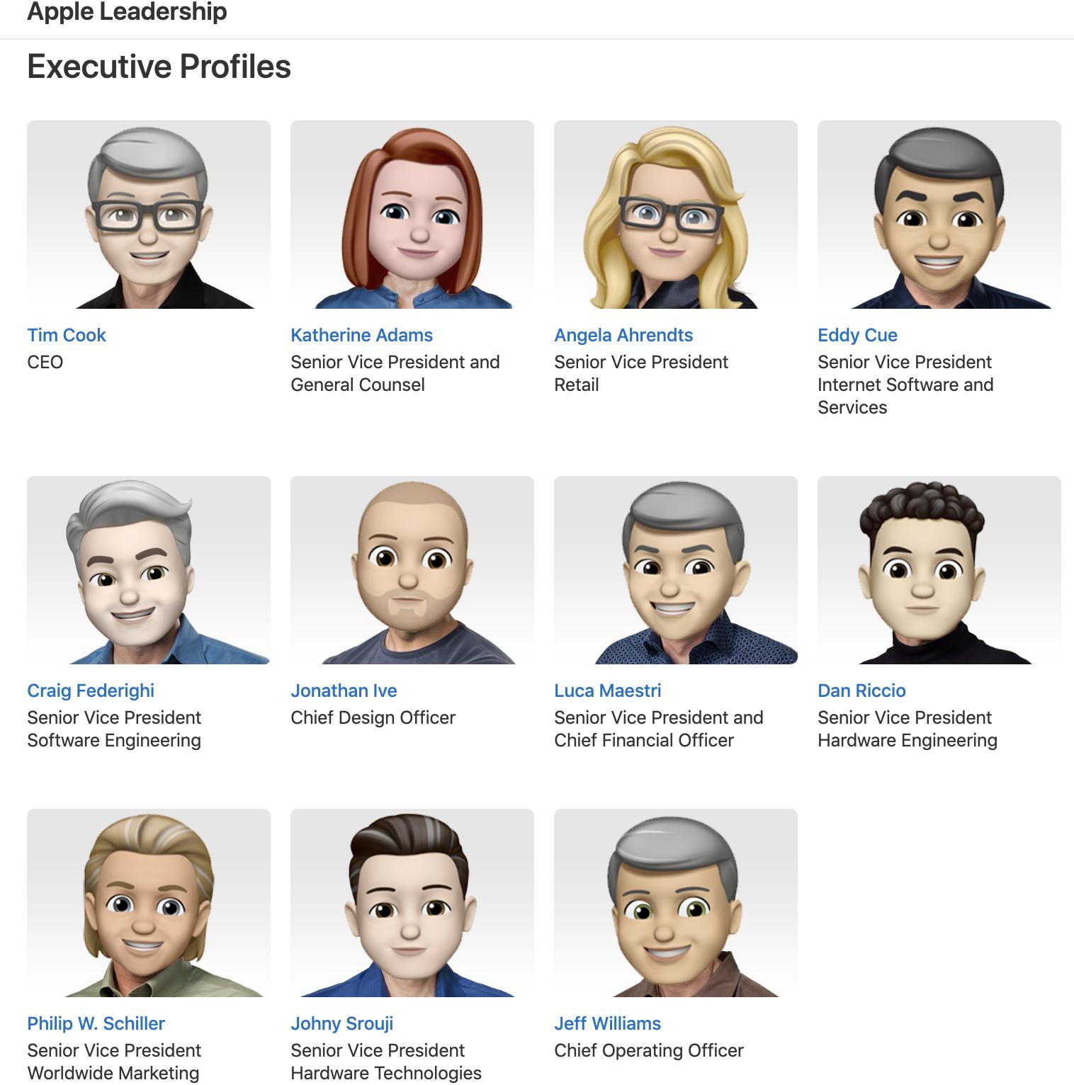 """为庆祝""""世界Emoji日"""",苹果高管照片变成了Memoji"""