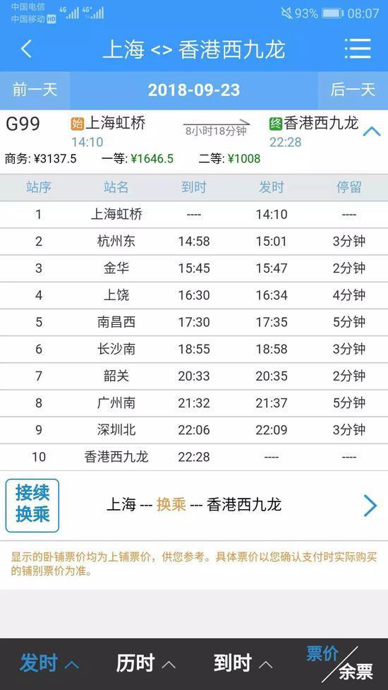 上海到香港高铁今早开售 全部票价公布!