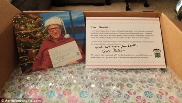 比尔·盖茨再度化身圣诞老人 为幸运网友送出豪华大礼的照片 - 1